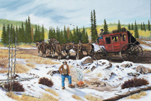 Jim Lang Stage Coach Stop Western Pioneer Days Oil Painting on Canvas 24x36