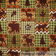 BonEful Fabric FQ Flannel Cotton Quilt VTG Brown Green Leaf Deer Bear Moose Tree