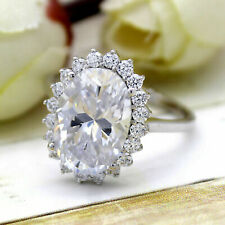 5Ct White Oval Cut Brilliant Moissanite Halo Engagement Ring 14K White Gold