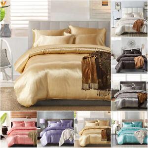 Chic Satin Bedding Sets Duvet Cover Pillow Case Plain Faux Silk Twin/Queen/King