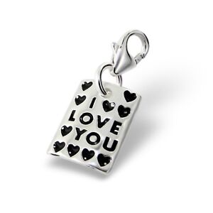 Silvadore I LOVE YOU Hearts Plaque 925 Sterling Silver Clip On Charm Bracelet535