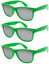 3 Pairs GREEN SILVER MIRRORED LENS Sunglasses lot new classic wholesale Men