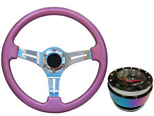 Pink Chrome TS Steering Wheel + Neo Quick Release boss NCh for LAND ROVER