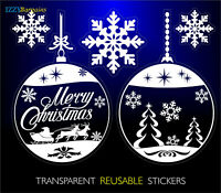 2 BALLS BAUBLES SNOWFLAKES REUSABLE CHRISTMAS STICKERS WINDOW DECORATIONS +