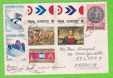 Sur CP - ITALIE - 8 timbres (Cachet PALERMO du 14-8-1970)