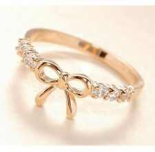 FD314 18K Gold Plated Princess Queen Ring Bowknot Rhinestone Diamond Rings ~1pc~