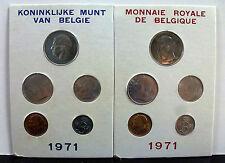 """2 1971 Belgium FDC SPECIMEN coin  Mint Sets """"fleur de coins"""""""