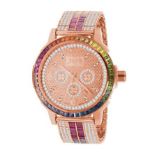 Real Diamond Dial Rainbow Multi Tone Mens Watch Rose Gold Solid Steel Bezel Band