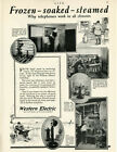 1923 Vintage Western Electric CANDLESTICK TELEPHONE Ad. Frozen Steamed Soaked