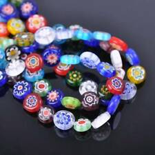 50pcs 10mm Oblate Coin Colorful Millefiori Glass Loose Spacer DIY Craft Beads