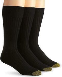 Gold Toe Men's Cotton Lisle Mercerized Permium Socks Black 3 Pairs size 10-13