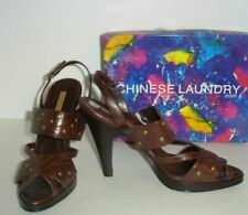 Chinese Laundry Sandals Black or Brown Leather Womans,8.5,9.5 Suzana