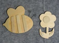 Lot of 2: Unfinished Layered Wood Shapes for Painting & Crafts - Flower & Bee