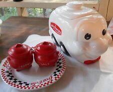 Archway cookie jar vintage Smiling face wheels w lid Plastic S&P Coke plate 5pc