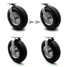 12 Inch Black Pneumatic Wheel Caster Set 2 Swivel With Swivel Locks And 2 Rigid