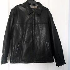 Members Only Mens Medium Leather Jacket Black Genuine Leather