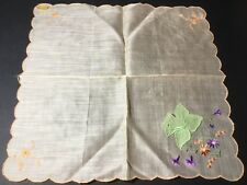 Vtg Hankie Handkerchief Nwt Embroidered Appliqué Flowers Tulip Scalloped Edge