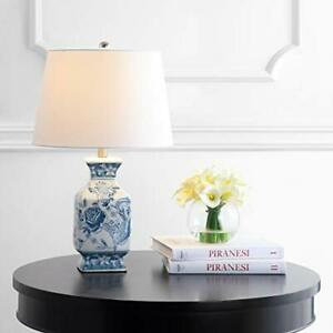 Safavieh Lighting Collection Mayson Blue/White Chinoiserie 24-inch Bedroom Li...