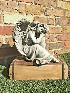 Garden Stone Angel Statue Lawn Patio Ornament  Gift Present