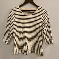 LL Bean Top Womens Size Medium Ivory Black Pima Cotton 3/4 Sleeve Stripe Shirt
