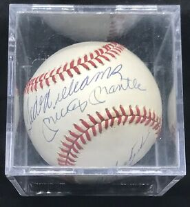 TRIPLE CROWN WINNERS SIGNED BASEBALL MICKEY MANTLE TED WILLIAMS PSA/DNA MINT 8