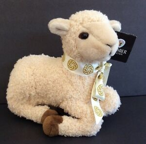 Ark Toys Kneeling Lamb Sheep 10in Long Curly Plush Premier Collection Hang Tag