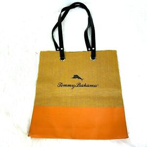 Tommy Bahama Bag Tote Straw Burlap Fall Autumn Colors Double Handles Spellout