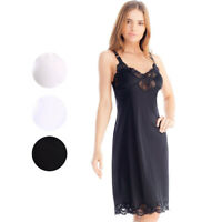 Women's Nylon Full Slip /w Adjustable Straps & Lace Trim #2012 3 Colors