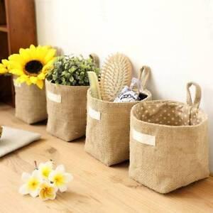Retro Jute Cotton Lining Sundries Basket Mini Desktop Storage Bags Hanging Bag