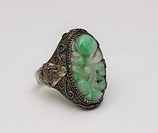 Antique Chinese Filigree Gilt Silver & Carved White & Green Jade Ring w Buddha