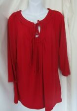 WORTHINGTON Stretch Red Blouse with Keyhole Neckline - Women's Size XL