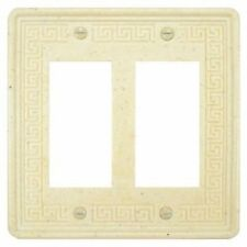 Wall Switch Plate Cover Double Outlet Greek Key Design Stone White Travertine