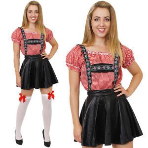 DELUXE BAVARIAN GIRL COSTUME OKTOBERFEST FANCY DRESS FAUX LEATHER LEDERHOSEN