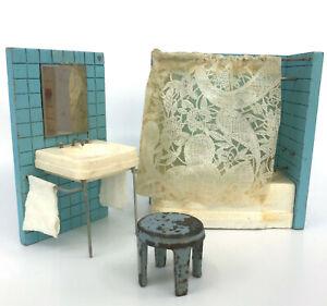 Dollhouse Miniature Bathroom Wooden Bath Sink 1920s Metal Stool Germany Vtg