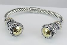 Gorgeous Sterling Silver and 18K Yellow Gold Large Bangle Cuff Bracelet