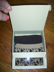 Michael Kors Boots Socks Brown/Tan Logo Woven S/M