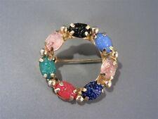 Vintage Multi Color Glass Scarab Beetle Brooch