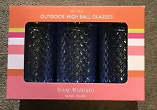 Isaac Mizrahi New York NY Blue High Ball Outdoor Glasses Set Of 6 NIB! Diamonds