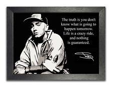 Eminem inspirierende Kopie Autogramm #1 schwarz weiß Zitat Poster Crazy Life Foto
