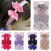 3Pcs Cute Kids Floral Headband Hair  baby Bowknot Accessories Hairband Set