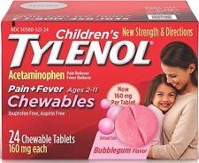TYLENOL Children's Pain + Fever Chewables Tablets, Bubblegum 24 ea (Pack of 2)