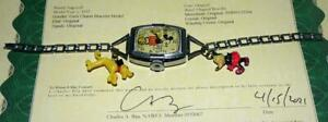 "DISNEY 1937 INGERSOLL MICKEY MOUSE""GIRL'S CHARM LINKS BRACELET""WRISTWATCH+CHARMS"
