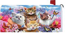 Kitten Cat Butterfly Flower Magnetic Mailbox Cover