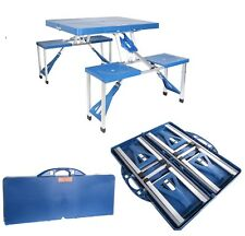 Outdoor Foldable Portable Aluminium Plastic Picnic Table Camping w/ Bench 4 Seat