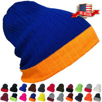 Beanie Hat Ribbed Thick Knit Ski Cap Skull Warm Solid Slouchy Winter Cuff Blank