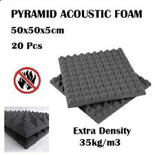 20 x Studio Acoustic Foam Panel Tile Sound Absorption Proofing Treatment Pyramid