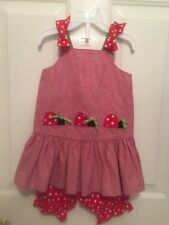 EUC~~ Girls Peaches N Cream Boutique Red Plaid Ladybug Tunic Bloomers Outfit 3T