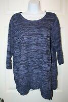 Croft and Barrow Women's Sweater 3/4 Sleeve Shirt Top Plus Size 1X Purple Black