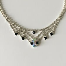 New Absolute Jewellery Silver Necklace with Crystal & Black Bead Details Gift