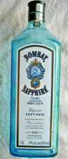Empty 1.75 L Bombay Sapphire Gin Clear Blue Glass Tall Square Cube Shape Bottle